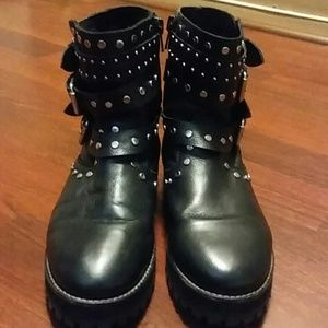 Zara Girl's Studded Leather Motorcycle Boots
